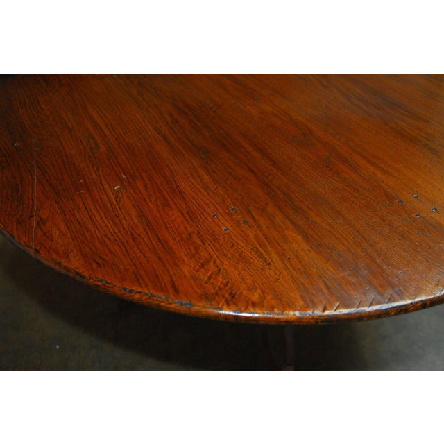 Italian Oak & Scrolled Iron Round Dining Table For Sale - Image 5 of 9