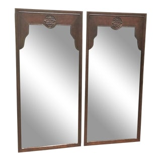 Vintage Chinoiserie Drexel Wood Mirrors - a Pair For Sale