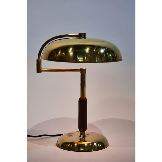 Unique Pair of Articulating French Brass and Wood Table Lamps For Sale - Image 4 of 7