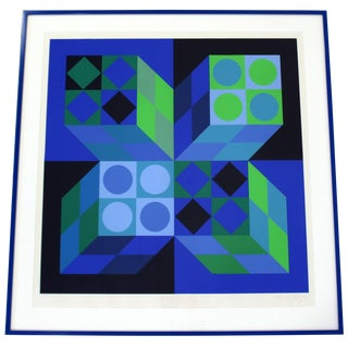 Mid-Century Modern Framed Signed Numbered Op Art Litho Print Victor Vasarely For Sale