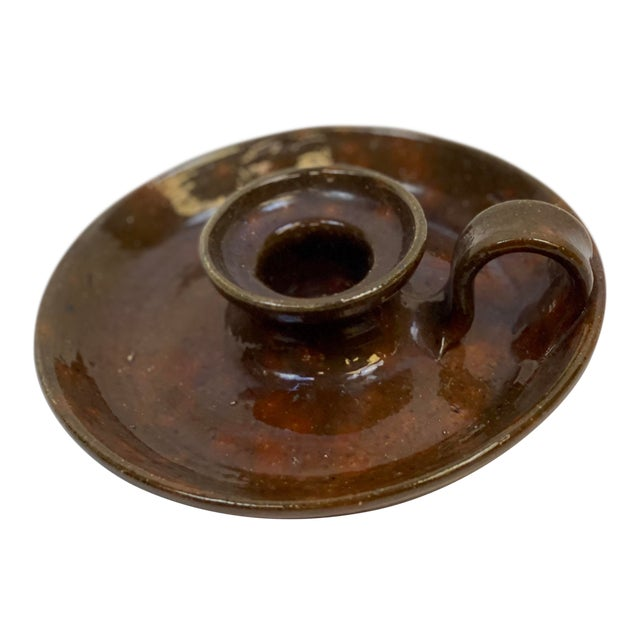 Mid 20th Century Vintage Jugtown Pottery Earthenware Candleholder For Sale