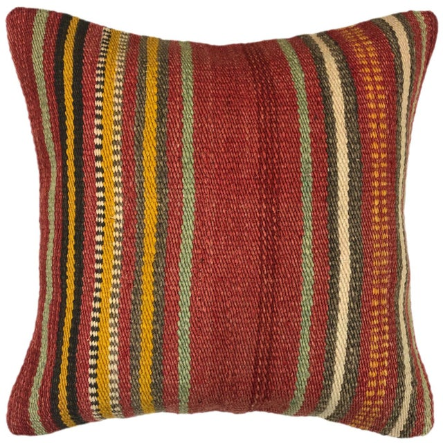 "Boho Chic Vintage Kilim Pillow | 16"" For Sale - Image 3 of 3"