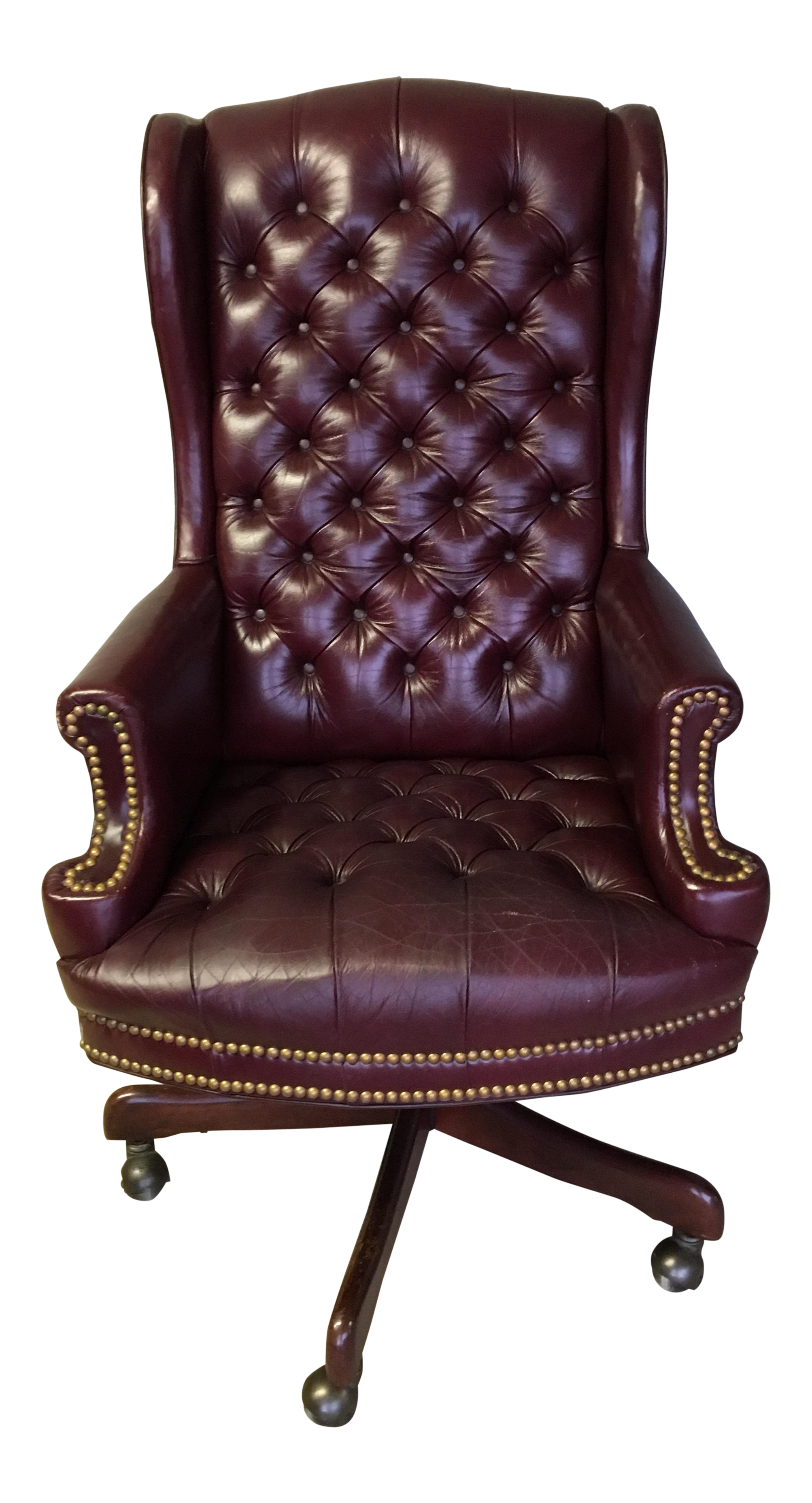 High Quality Whitehall Leather Oxblood Tufted Wing Back Chair