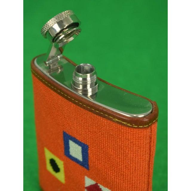 Needlepoint Signal Flag 6 Oz Flask For Sale - Image 4 of 6