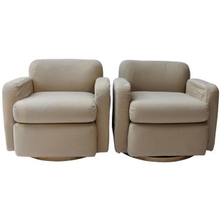 Pair of Thayer Coggin Swivel Club Chairs For Sale