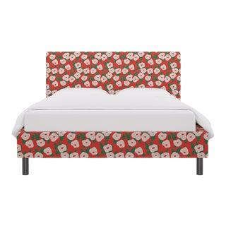 Queen Tailored Platform Bed in Red Belle Du Jour For Sale