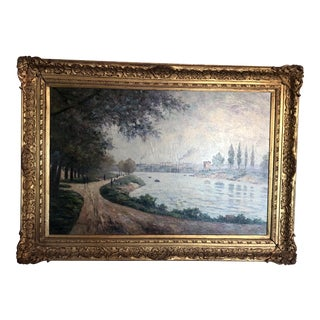 Early 20th Century Antique Emile Barnard Rural Landscape Scene Painting For Sale