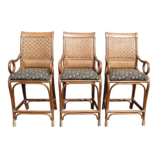 1950s Mid-Century Modern Black & Brown Bamboo Rattan Bar Stools - Set of 3