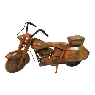 Mid-Century Modern Wooden Model Motorcycle Replica