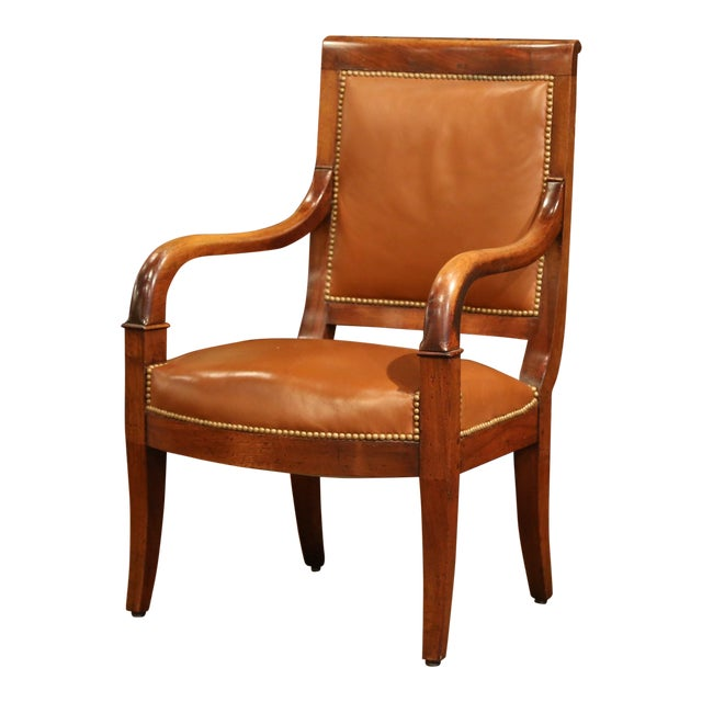 19th Century French Directoire Carved Walnut Desk Armchair With Brown Leather For Sale