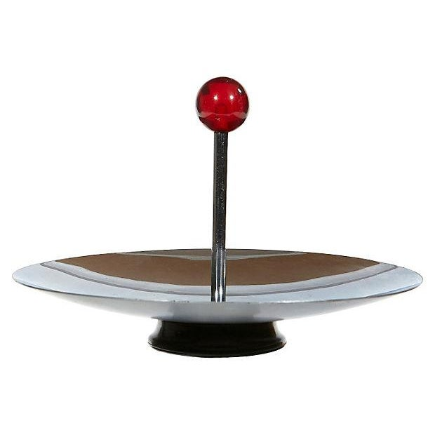 Round Chrome Art Deco Server - Image 2 of 3