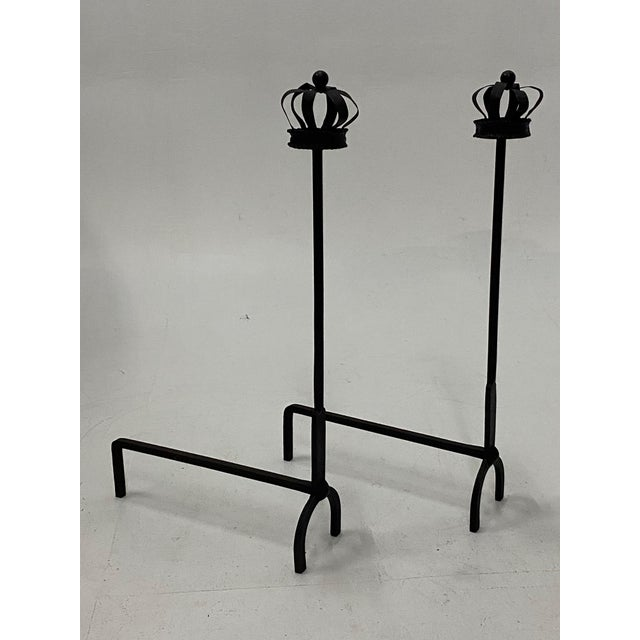 Black Cast Iron Crown Motife Andirons a Pair For Sale In Philadelphia - Image 6 of 6