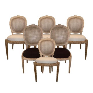 1980s Faux Bois Louis XVI16th Style Dining Chairs - Set of 6 For Sale