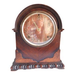 Art Deco 1920's Ingraham Copper-Face Burled Wood Mantle Clock For Sale