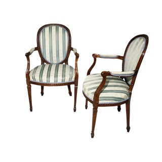 Late 18th Century English George III Hepplewhite Style Mahogany Arm Chairs- A Pair For Sale
