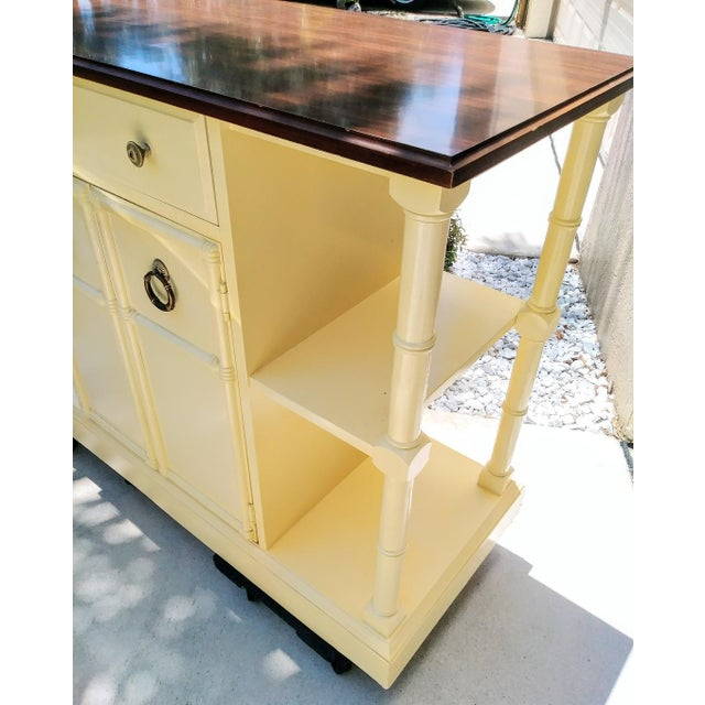 1970s Vintage Faux Bamboo Pam Beach Regency Center Island Buffet Cabinet For Sale - Image 5 of 7