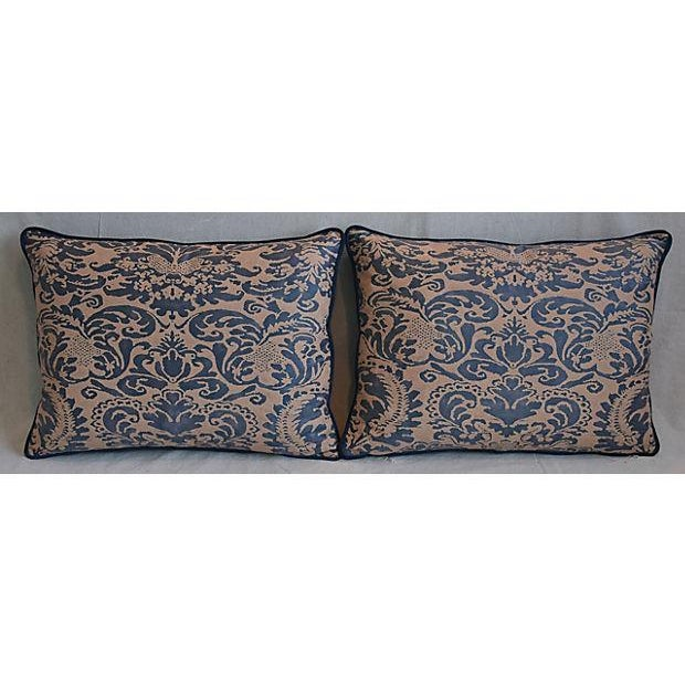 Pair of large custom-tailored Italian Mariano Fortuny pillows. Pillow fronts are a vintage/never used Egyptian premium...