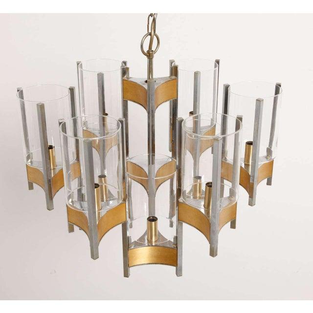 Gold Sciolari Brass Glass Sculptural Chandelier,1970s For Sale - Image 8 of 11
