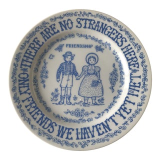 Vintage Blue and White Friendship Plate For Sale