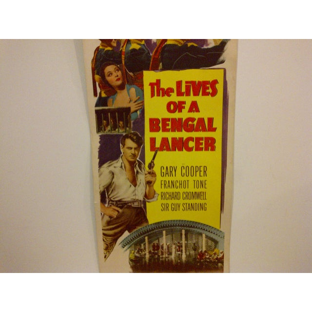 "Vintage Movie Poster ""The Lives of a Bengal Lancer"" Gary Cooper 1950 For Sale - Image 4 of 6"