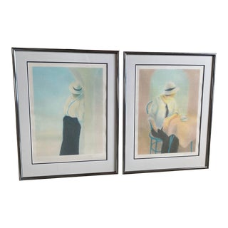 "Limited Edition Roy Fairchild Woodard Serigraphs ""Cafe Royale"" & ""Monaco"" - A Pair For Sale"