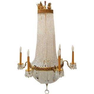 Louis XVI Style Gilt Bronze and Beaded Chandelier For Sale