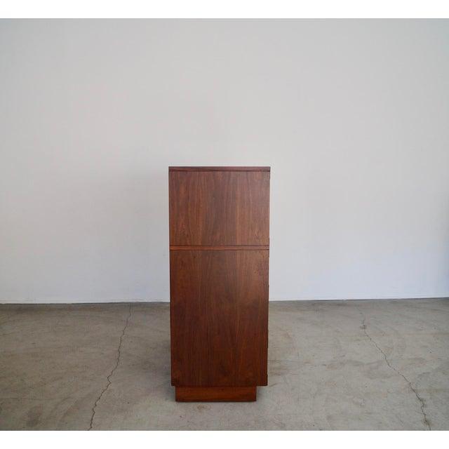 Hollywood Regency Walnut Rosewood Campaign Dresser For Sale - Image 9 of 13