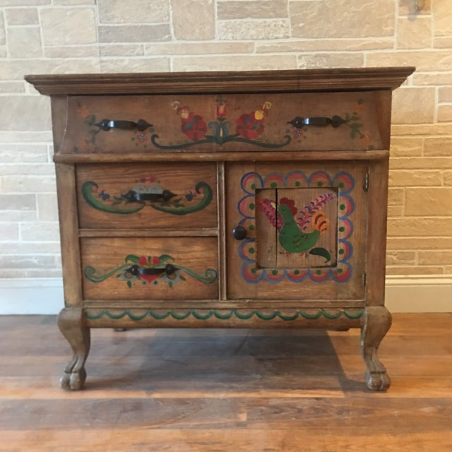Early 21st Century Dutch Folk Art Painted Oak Chest For Sale - Image 13 of 13