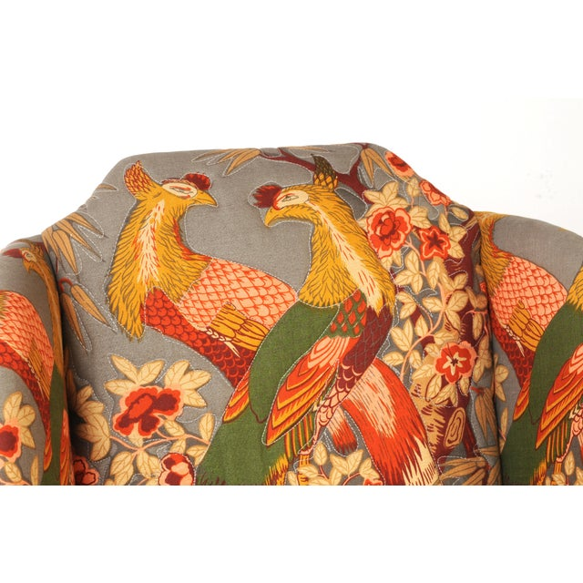 1970s Wingback Chairs in Quilted Peacock Fabric - A Pair For Sale - Image 5 of 9