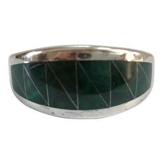 1970s Vintage Boho Chic Sterling Silver & Malachite Bracelet For Sale