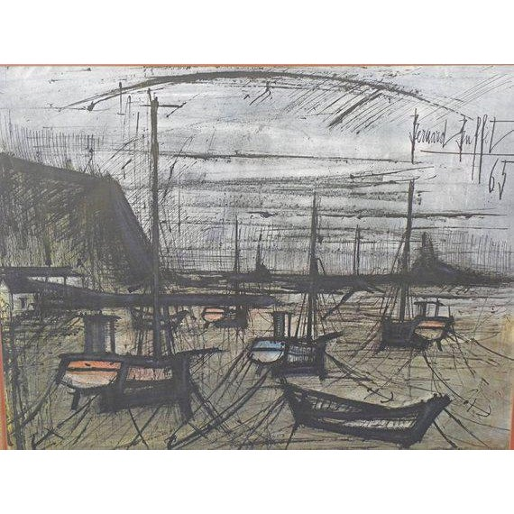 Glass Vintage French Expressionist Bernard Buffet Lithograph For Sale - Image 7 of 9