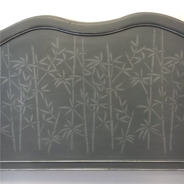 Asian 1960s Contemporary Gray Hand Painted Full Size Headboard For Sale - Image 3 of 7