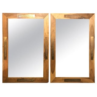 Pair of Hollywood Regency Style Brass Framed Wall or Console or Pier Mirrors For Sale