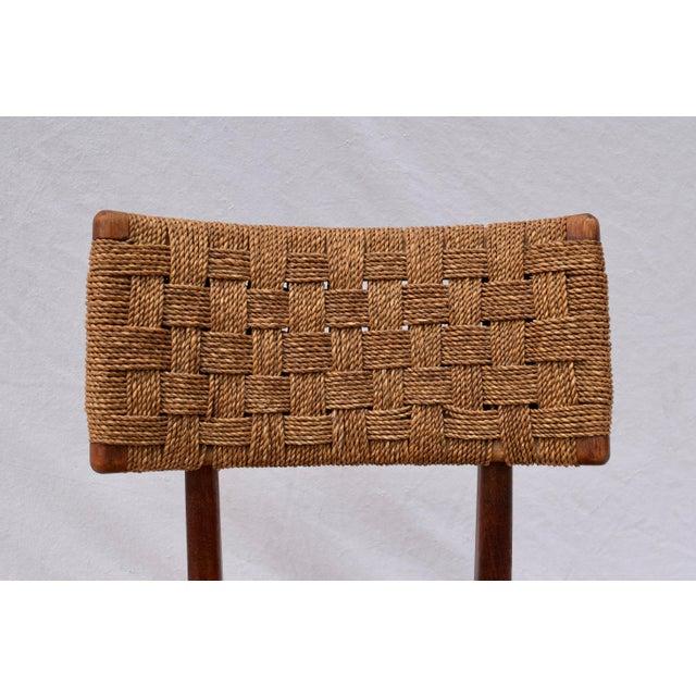 Teak Mid Century Modern Side Desk Rope Chair For Sale - Image 10 of 12