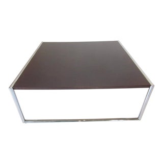 Ebony Finished Wood and Chrome Coffee Table For Sale