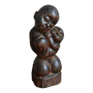 20th Century Brazilian Wood Sculpture of Madonna and Child