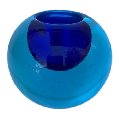 Blue Glass Sommerso Paper Weight Attributed to Flavio Poli For Sale