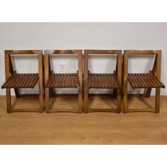 Wood Walnut Dining Table and Self Storing Chairs - Set of 5 For Sale - Image 7 of 11