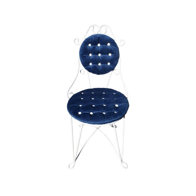 Antique Iron blue velvet vanity single chair 1940's style French 1940's art deco inspired In the style of Jean Royere,...