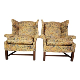 Chippendale Wingback Easy Chairs - a Pair For Sale