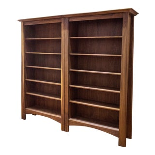 Vintage Brown Walnut Bookshelf For Sale