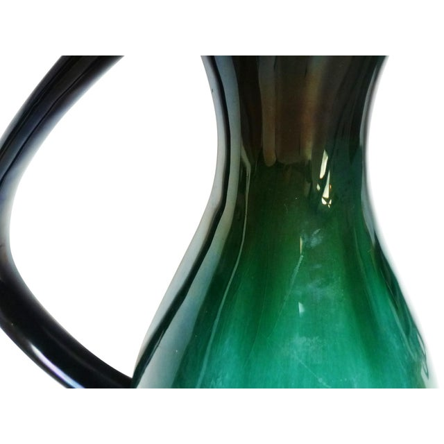 Mid-Century Modern Mid-Century Turquoise & Black Drip Glaze Pitcher For Sale - Image 3 of 4