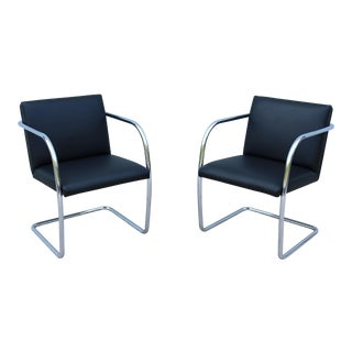 Mid-Century Modern Mies Van Der Rohe Black Leather Brno Tubular Chairs - a Pair For Sale