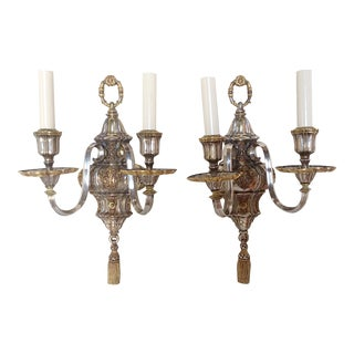 Antique E. F. Caldwell & Co Silver Plated Tassel Wall Sconces- A Pair For Sale