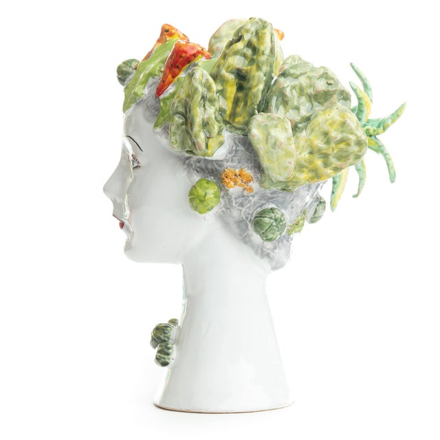 DESCRIPTION This d'arte ceramic sculpture with the succulents is hand crafted by Ivana Dolfi in Montelupo, Italy. The...
