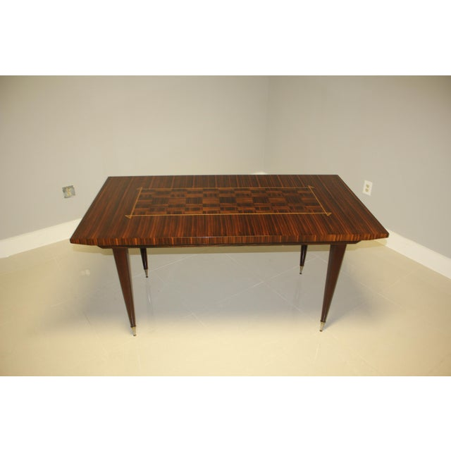 1940s Art Deco Exotic Macassar Ebony Writing Desk/Dining Table For Sale - Image 11 of 13