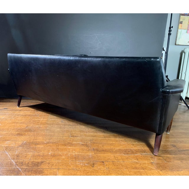 Wood Early 1970s Danish Flared-Arm 3-Seat Sofa For Sale - Image 7 of 9