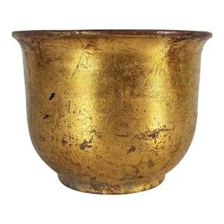 Italian Vietri Gold Leaf Ceramic Planter For Sale