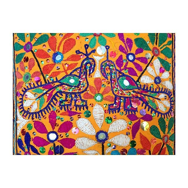 Indian Embroidered Peacock Floral Pillow - Image 2 of 4