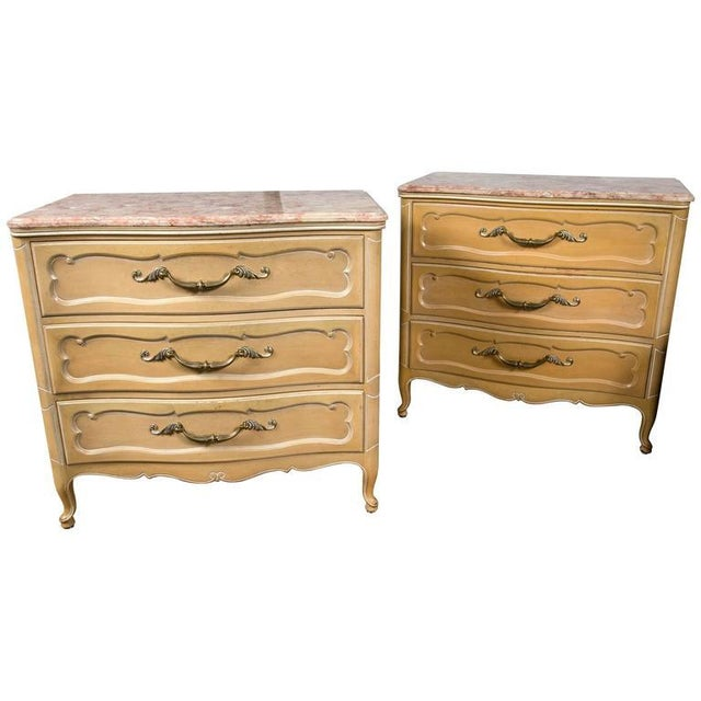 Grosfeld House Louis XV Marble-Top Commodes - Pair For Sale